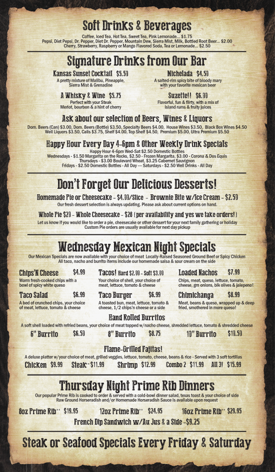 Our Menu | Brand N Iron Bar and Grill – Princeton KS